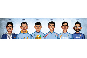 Caricature tribute by artist Prasad Bhat to World Cup Cricket Captains