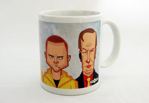 Jesse Pinkman and Saul in Breaking Bad Coffee Mug with Caricature Art by Prasad Bhat.