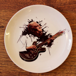 BB King Wall Decor Plate with art by Prasad Bhat on wooden panel
