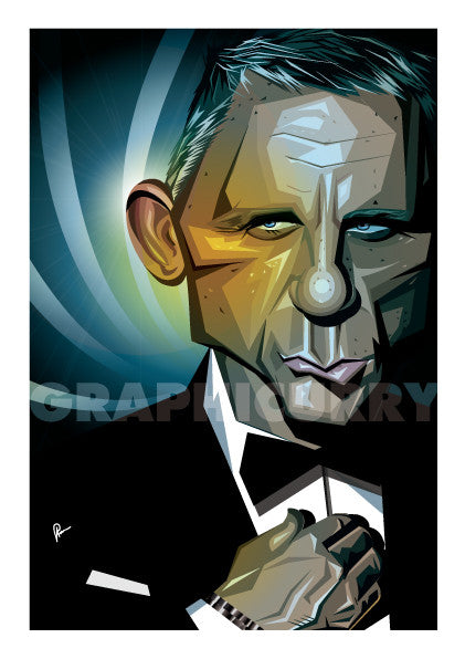 James Bond Poster showing framed stylized Caricature Portrait in Vector Illustration by Prasad Bhat.  Image shows him straightening his shirt in his usual charismatic pouty smile.