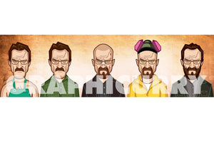 Tribute art by Prasad Bhat to all avatars of Walter White Bryan Cranston