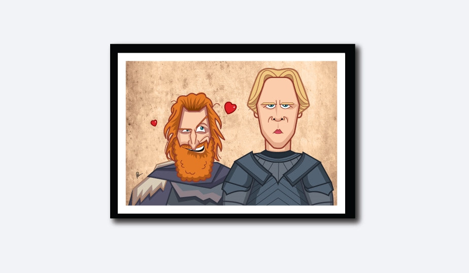 Game of Thrones Tribute Poster. Brienne and Tormund Love portrayed in caricature by artist Prasda Bhat of Graphicurry