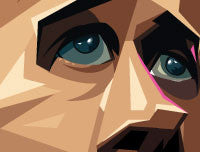 Closeup of Ryan Gosling's eyes in his caricature drawn with sharp lines and angular gradient elements . Artwork by Prasad Bhat