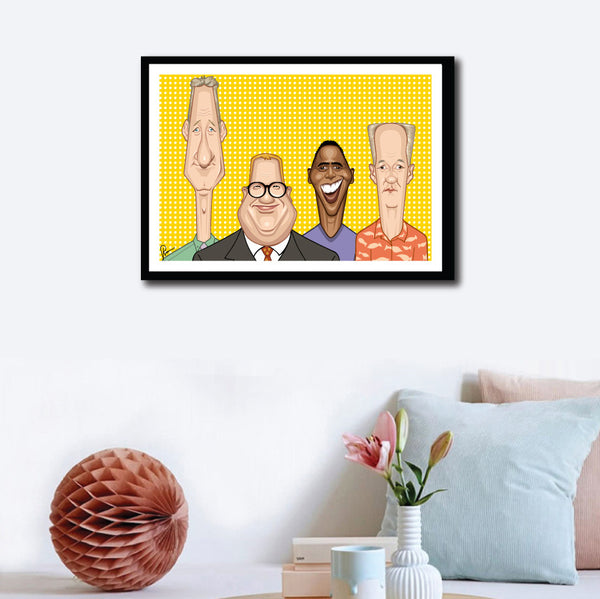 Wall decor with Framed Caricature Art poster of Who's Line is it anyway? by Prasad Bhat. The four leads of the show look straight forward looking their goofy selves against a vibrant yellow backdrop.