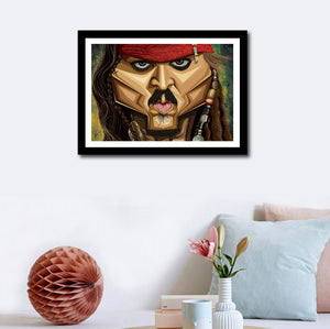 Visual of framed poster of The Pirate against a wall decor. Caricature Vector Illustration of Johnny Depp from The Pirate by Prasad Bhat.