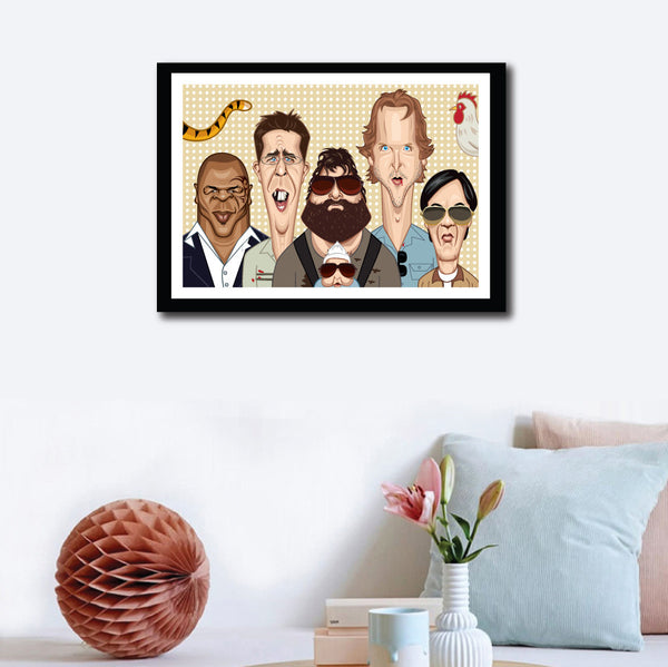 Framed Hangover Movie Poster. Fan art of Hangover by Prasad Bhat, a blend of hilarious and sinister comedy Starring Phil (Bradley), Stu (Ed), Doug (Justin), Alan (Zach) and The Chinese Guy. Image artwork hung as wall decor and the art shows them looking straight ahead being their own peculiar goofy selves.