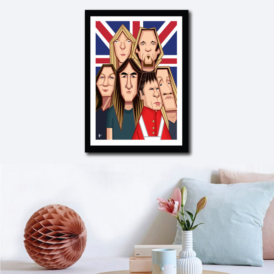 Framed Caricature Art Poster of Iron Maiden Band. Fan art by Prasad Bhat shows all the six band members in a snug composition in front of the back drop of a British Flag.