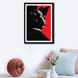 Framed Hitchcock Poster on a wall decor. This portrait is a artistic tribute by Prasad Bhat to his famous classic, Birds. If you look closely, you will see how! Image shows Hitchcock looking sideways with light falling on his face. Bird feathers are visible in the predominantly red and black background.