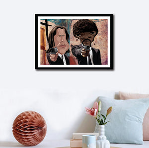 Framed visual wall decor of Pulp Fiction art by Prasad Bhat. Caricature Vector illustrative style shows Jules and Vincent pointing their guns out from the legendary scene from the movie.