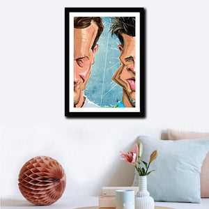 Framed Poster of Fight Club in caricature art by Prasad Bhat, hung as a wall decor. Image shows half the face of both Brad Pitt and Edward Norton, in line with the core theme of the movie.