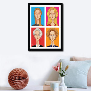 Meryl Streep Framed Poster. Caricature art by Prasad Bhat. Image shows frame of the artwork on a wall decor, with a vibrant colored composition. It shows Meryl in her four avatars from different movies.