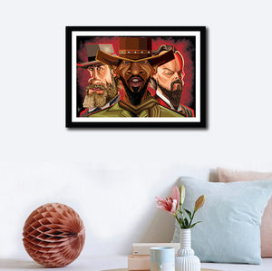 Framed Visual of Django Tribute Wall Art by Prasad Bhat. The image shows a wall decor with the artwork in a wooden frame.