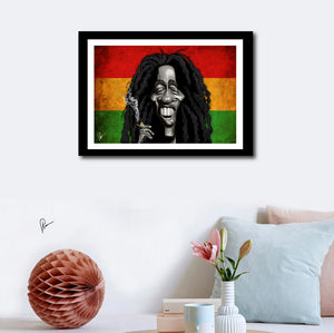 Bob Marley Poster Art by Prasad Bhat. Image shows Marley's framed artwork on a wall decor, with him smiling away holding his favorite substance of choice against the famous tricolor band of red, yellow and green.