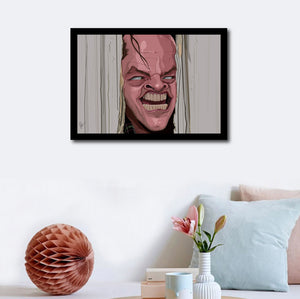 "Wall decor with Framed Caricature Art Poster of famous scene from movie ""Shining"" . Jack Nicholson popping his head out of the axed door creepily saying ""Here's Johnny"""