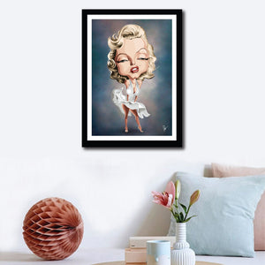Wall decor with Framed Art Poster of Legendary pose by Marilyn Monroe with her flying skirt. Caricature art by Prasad Bhat.