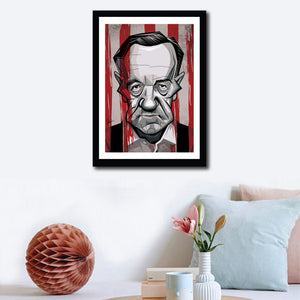 Wall decor of Framed Frank Underwood Poster portrayed by Kevin Spacey. Caricature Art Tribute by Prasad Bhat. Image shows him staring right on with his grim eyes and a bloody backdrop.