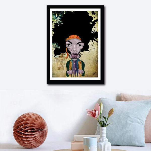 Jimi Hendrix Caricature by Prasad Bhat in a framed Poster on a wall decor. The artist stylized this artwork with vibrant composition and an abstract layout.