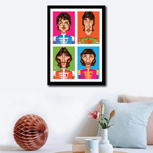 Framed visual on a wall in Home Decor setup of Beatles Tribute Artwork by artist Prasad Bhat. This style shows the four band members in colorful blocks vertically placed aesthetically.