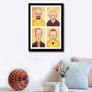 Framed Visual of Breaking Bad Poster on a pleasant wall decor. Tribute Fan Art in Caricature Style by Prasad Bhat. Image shows vertical block composition of the four lead characters of the show.
