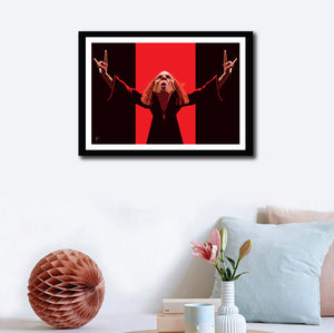 Ronnie Jamse Dio Framed Poster. Artwork by Prasad Bhat. Image shows wall decor of the art in a frame.
