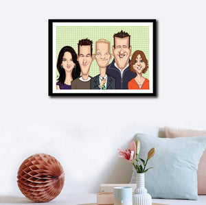 Wall Decor of Framed How I Met Your Mother poster.Caricature art tribute by Prasad Bhat. Image shows the five lead characters looking straight forward with their usual candid smiles. Barney is adjusting his yellow duck tie.