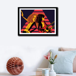 "Led zeppelin artwork with the band members playing ""Stairway to Heaven"". Pop art by Prasad Bhat. Image shows the wall decor of the framed art in which band members in a trance playing the legendary gig."