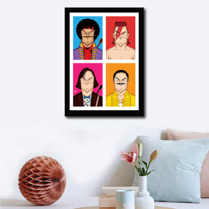 Wall decor of Framed Jack Black Poster by Prasad Bhat. Image shows four avatars of the actor in vibrant blocks. It has him dressed as Jimi Hendrix, Freddie mercury, David Bowie and himself!