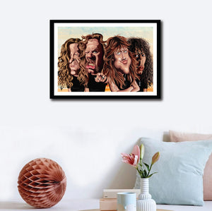Wall decor of Framed Art Poster of the four members of Metallica Band. Caricature Art tribute by Prasad Bhat showing the four members standing in a group looking brutal with their open hair and eccentric expressions.
