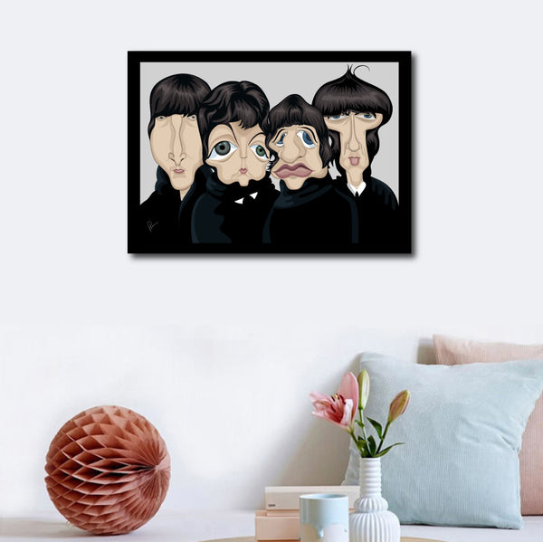 Beatles Poster with frame for visual reference. Decorated on a wall aesthetically. Vector Caricature Artwork by Prasad Bhat, Graphicurry