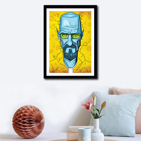 Visual of the artwork in the setup of a wall and home decor. Vibrant Yellow and Blues make this Breaking Bad Artwork stand out. Vector Style Caricature by artist Prasad Bhat.