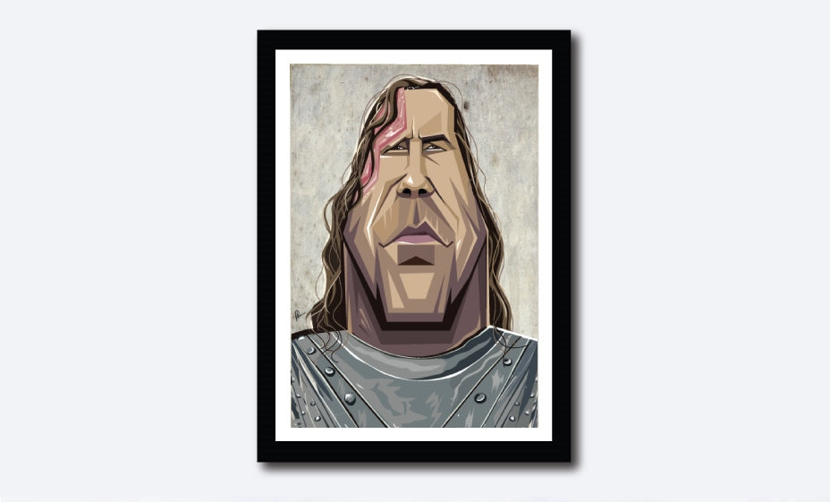 Game of Thrones Tribute Poster. The Hound, Sandor Clegane, portrayed in caricature by artist Prasad Bhat of Graphicurry