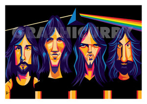 Poster of Pink Floyd. Caricature art by Prasad Bhat. Image shows the four band members looking straight ahead in a black prismatic backdrop with psychedelic colors.