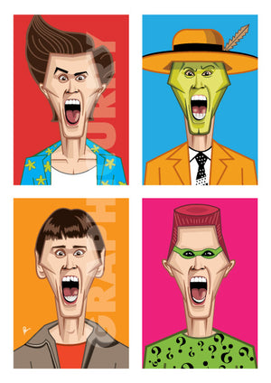 Jim Carrey's Humorous Avatars in Prasad Bhat's artwork. Four vibrant color blocks show his hilarious expressions looking straight forward in this artwork poster.