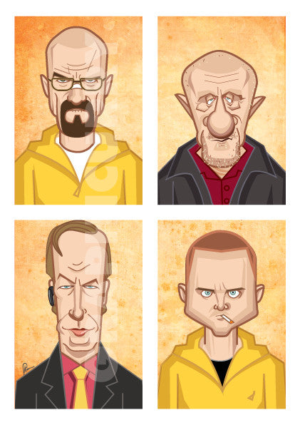 Breaking Bad Poster. Tribute Fan Art in Caricature Style by Prasad Bhat. Image shows vertical block composition of the four lead characters of the show.