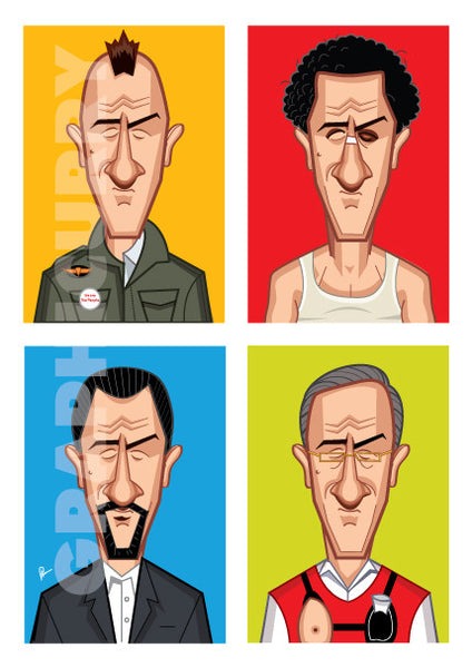 Robert Deniro Poster. Caricature Art by Prasad Bhat. Part of the Evolution Series showing the famous actor in four of his best roles placed in a block composition in vibrant colors.