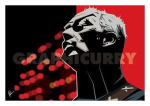 Poster of David Gilmour. Caricature art by Prasad Bhat. Image shows the artist in a performing moment with a angular view of his face. The artwork is predominantly composed with red and black colors and his guitar strap is visible on the corner.