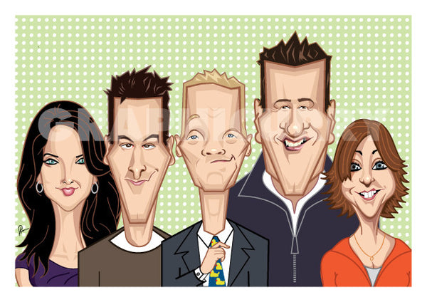 How I Met Your Mother poster.Caricature art tribute by Prasad Bhat. Image shows the five lead characters looking straight forward with their usual candid smiles. Barney is adjusting his yellow duck tie.