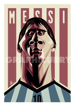 Caricature Art Poster of Messi by Prasad Bhat. Argentine Footballer looking forward with his determined eyes and his football jersey against the backdrop of rugged lines and his name etched on them.
