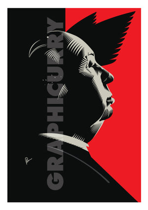 Hitchcock Poster. This portrait is a artistic tribute by Prasad Bhat to his famous classic, Birds. If you look closely, you will see how! Image shows Hitchcock looking sideways with light falling on his face. Bird feathers are visible in the predominantly red and black background.