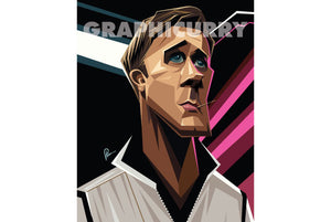Full Portrait of Ryan Gosling's angular view caricature drawn with sharp lines and angular gradient elements . Artwork by Prasad Bhat