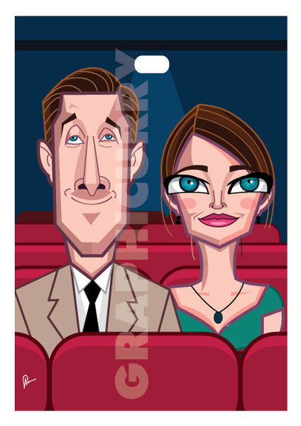 La La Land Poster by Prasad Bhat. Vector Caricature Illustration of the Oscar winning cinema composition of LA LA Land. The image shows both the lead actors seated in a theatre in a warm moment.
