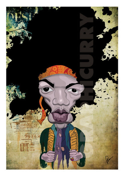 Jimi Hendrix Caricature by Prasad Bhat in a Poster format. The artist stylized this artwork with vibrant composition and an abstract layout.