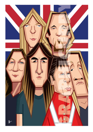 Caricature Art Poster of Iron Maiden Band. Fan art by Prasad Bhat shows all the six band members in a snug composition in front of the back drop of a British Flag.
