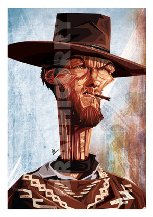 Clint Eastwood Poster by Prasad Bhat. Image shows him in his iconic Cowboy attire looking far ahead with sharp eyes and a cigarette clenched between his teeth.