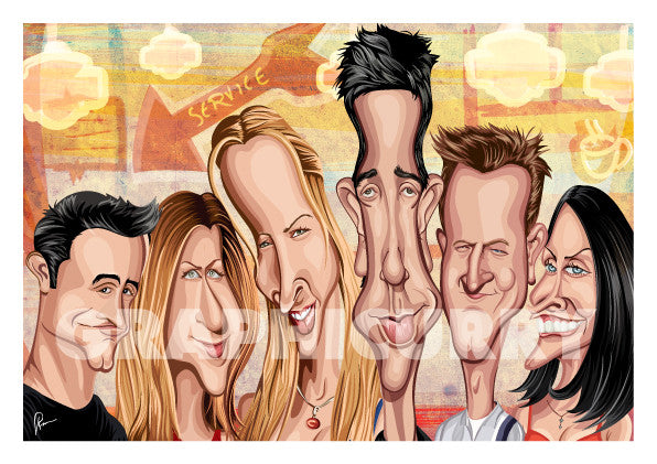 Friends Poster. Caricature Art by Prasad Bhat showing the six friends looking candid in this colorful poster looking straight ahead.