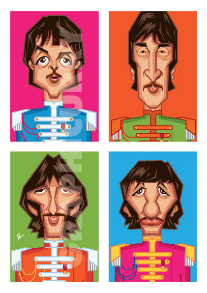 Framed visual reference of Beatles Tribute Artwork by artist Prasad Bhat. This style shows the four band members in colorful blocks vertically placed aesthetically.