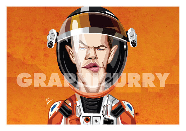 Matt Damon in his Caricature Art Form by Prasad Bhat. Image shows framed art poster of Martian avatar by Matt looking straight forward with his sleek eyes . He is wearing the astronaut's suit and helmet against a predominantly orange background.