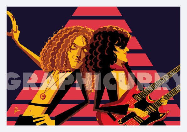 "Led zeppelin artwork with the band members playing ""Stairway to Heaven"". Pop art by Prasad Bhat. Image shows the members in a trance playing the legendary gig."