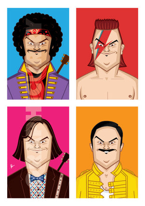 Jack Black Poster by Prasad Bhat. Image shows four avatars of the actor in vibrant blocks. It has him dressed as Jimi Hendrix, Freddie mercury, David Bowie and himself!