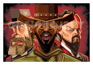 Close up of Django Tribute Wall Art by Graphicurry. Image shows all three lead actors, Jamie, Leonardo and Christoph in head to torso Vector style Caricature Illustration.